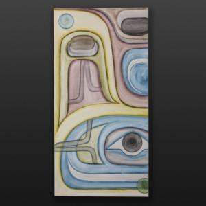 "Faded Memories Steve Smith - Dla'kwagila Oweekeno Watercolor & graphite on canvas 36"" x 18"" x 1½"" $1600"