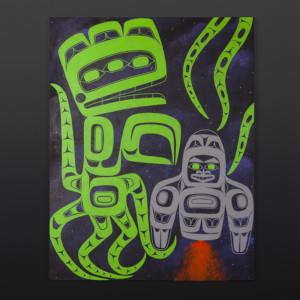 """Space Bear Alison Marks Tlingit Acrylic on canvas 28"""" x 22"""" $1800"""