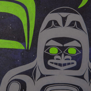 "Space Bear Alison Marks Tlingit Acrylic on canvas 28"" x 22"" $1800"