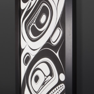 "Eagle and Orca Chazz Mack Nuxalk Framed acrylic on canvas 40½"" x 22½"" x 2"" $3200"