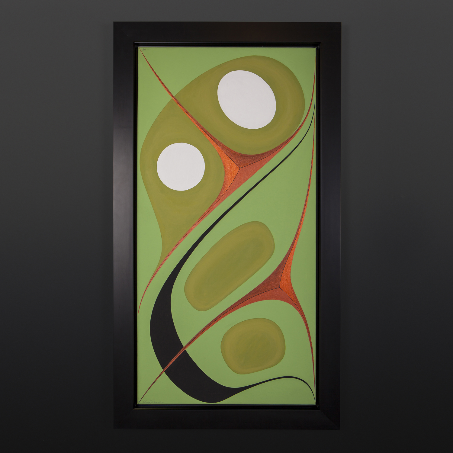 "Wealth Chazz Mack Nuxalk Framed acrylic on canvas 40½"" x 22½"" x 2"" $3200"
