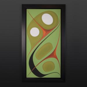 "Wealth Chazz Mack Nuxalk Framed acrylic on canvas 40½"" x 22½"" x 2"" $3200"