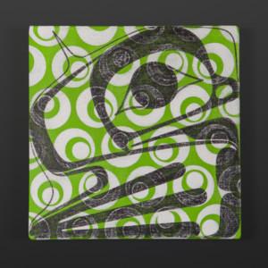"Frog Clinton Work Kwakwaka'wakw Acrylic on canvas 10"" x 10"" x 1½"" $550"