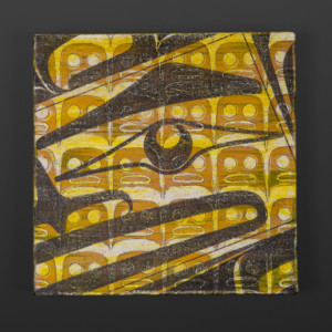 "Human Clinton Work Kwakwaka'wakw Acrylic on canvas 10"" x 10"" x 1½"" $550"