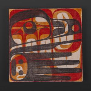 """Raven Clinton Work Kwakwaka'wakw Acrylic on canvas 10"""" x 10"""" x 1½"""" $550"""