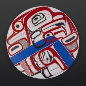 """Gwisgwaasgm Laxha (Break in the Clouds) David R Boxley Tsimshian Acrylic on canvas 24"""" dia. x 2"""" $4600"""