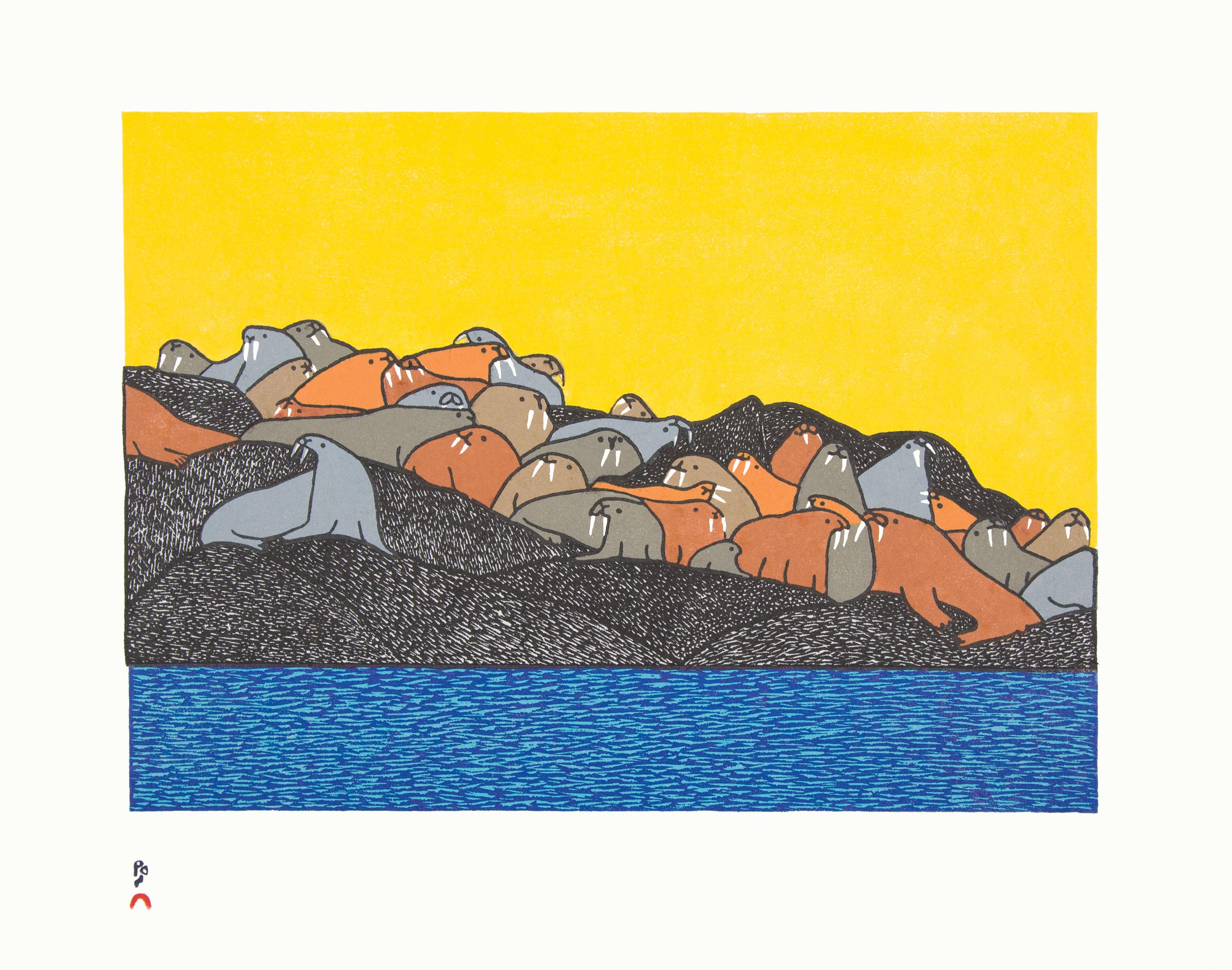 NINGIUKULU TEEVEE Uunnijut (Relaxing After a Meal) Stonecut Printer: Qiatsuk Niviaqsi 39 x 49.3 cm; 15 1/4 x 17 in. $560