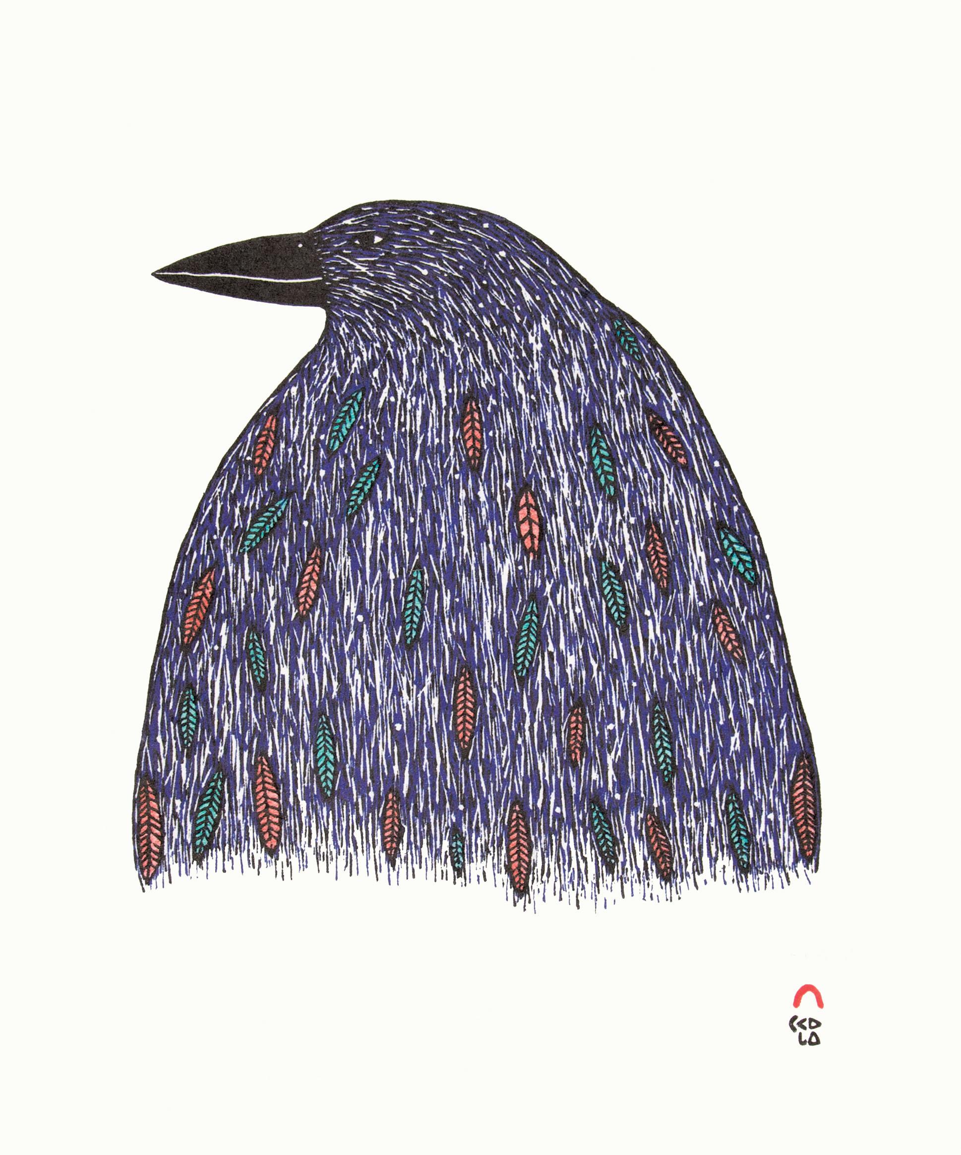 NINGIUKULU TEEVEE Iridescent Raven Stonecut & Stencil Printer: Tapaungai Niviaqsi 35 x 30.5 cm; 13 3/4 x 12 in. $400 US