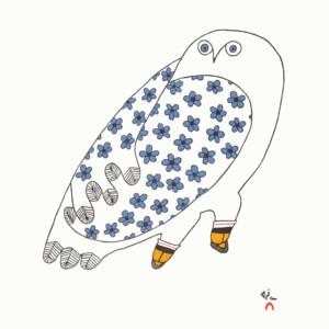 NINGIUKULU TEEVEE Blossoming Owl Stonecut & Stencil Printer: Ashoona Ashoona 37.5 x 35.3 cm; 14 3/4 x 14 in. $480 US