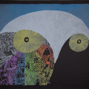 NINGIUKULU TEEVEE Storyteller Lithograph Printer: Niveaksie Quvianaqtuliaq 56.5 x 76 cm; 22 1/2 x 30 in. $720
