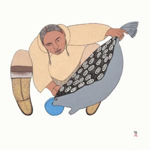 NINGIUKULU TEEVEE Surusiq Natsiaruqtuq (The Boy Turns into a Seal) Stonecut Printer: Tapaungai Niviaqsi 52 x 55.5 cm; 20 3/4 x 22 in. $560
