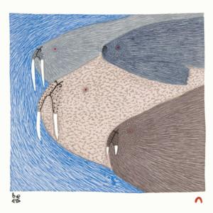 NINGIUKULU TEEVEE Swimming Walrus Stonecut & Stencil Printer: Qavavau Manumie 27.5 x 37.7 cm; 10 3/4 x 14 3/4 in. $400 US