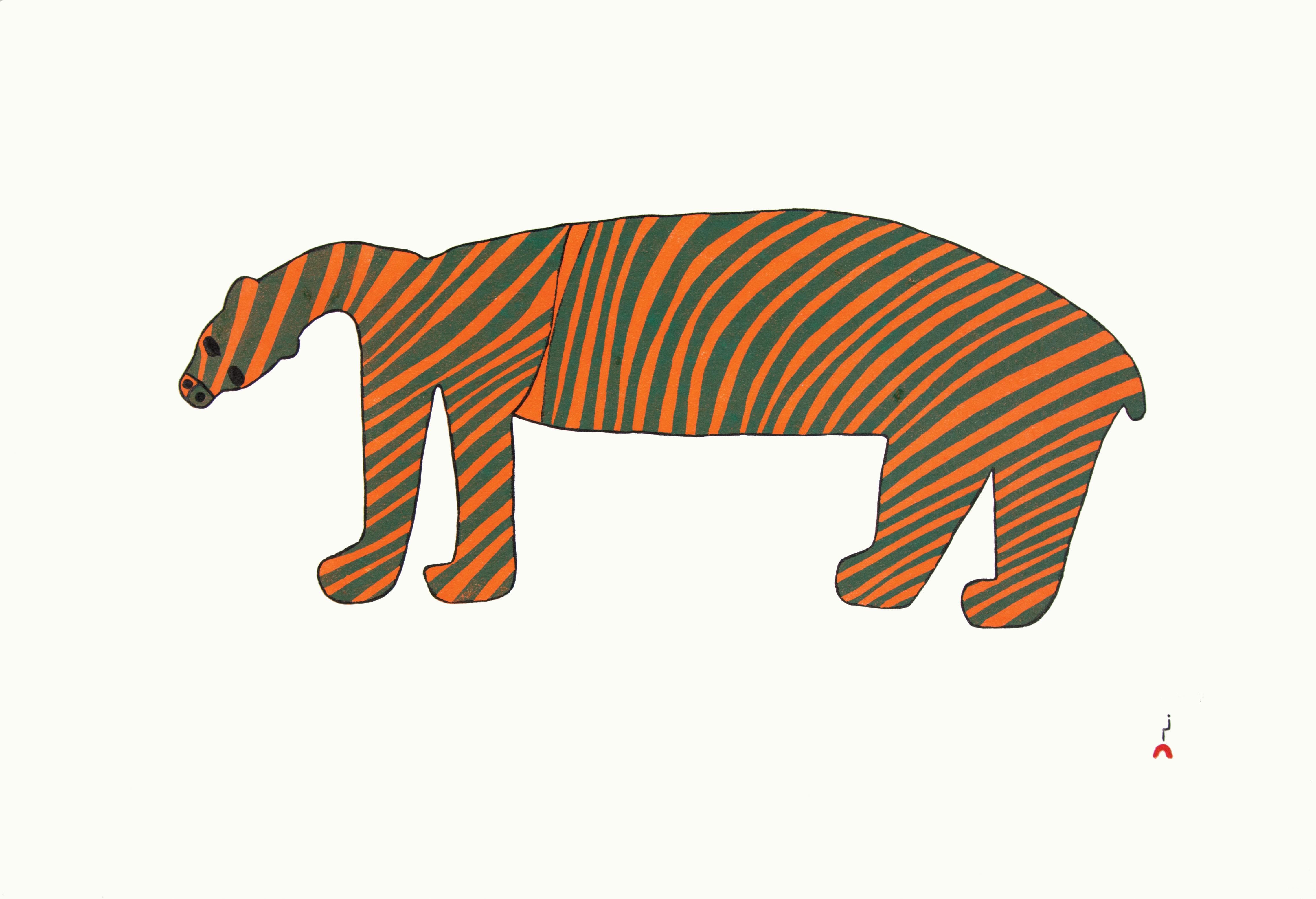 "SAIMAIYU AKESUK Striped Bear Stonecut Paper: Kizuki Kozo White Printer: Cee Pootoogook 24"" x 17"" $320"