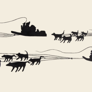 PITALOOSIE SAILA Journey by Dog Team Stonecut Printer: Qavavau Manumie 28 x 62.5 cm; 11 x 24 1/2 in. $400 US