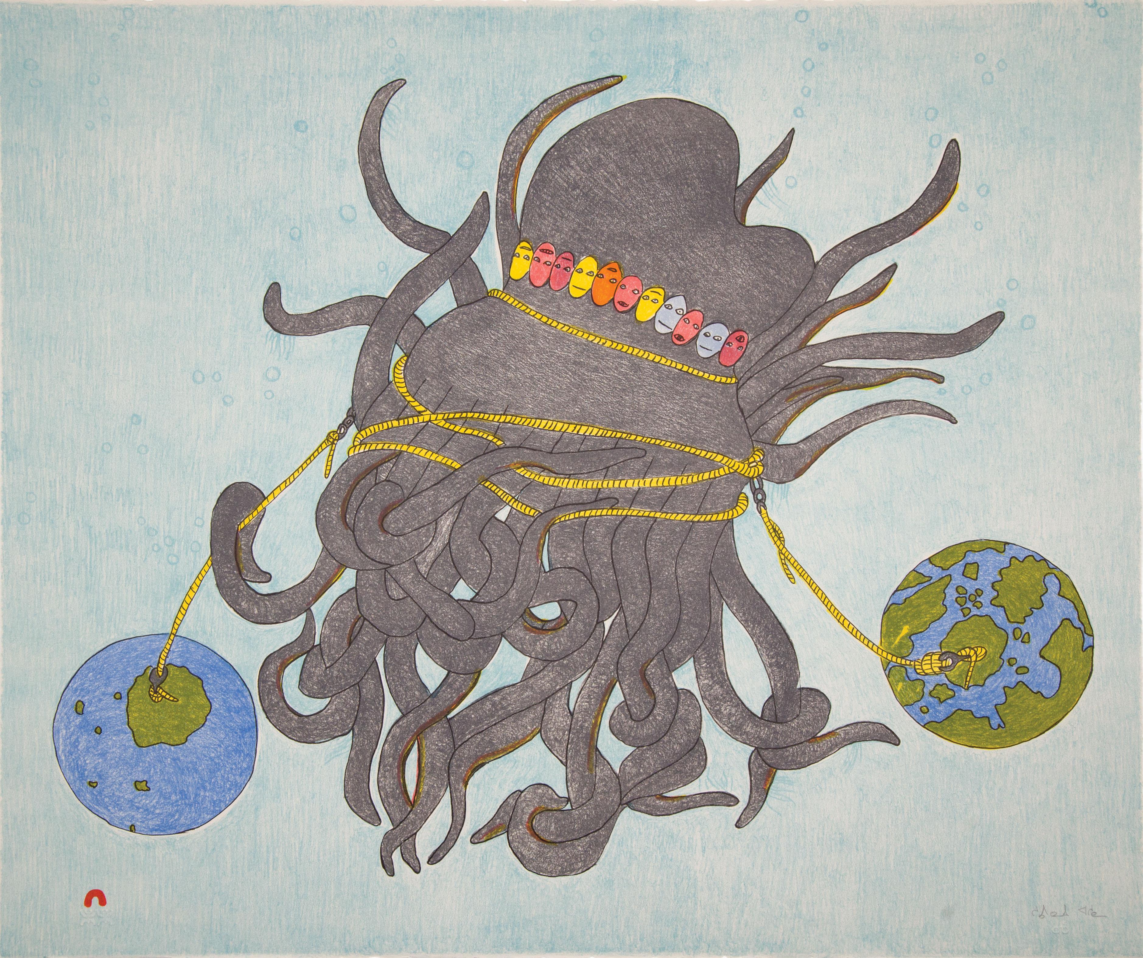 SHUVINAI ASHOONA Tentacles Lithograph Printer: Niveaksie Quvianaqtuliaq 57 x 66.5 cm; 22 1/2 x 26 in. $640 US