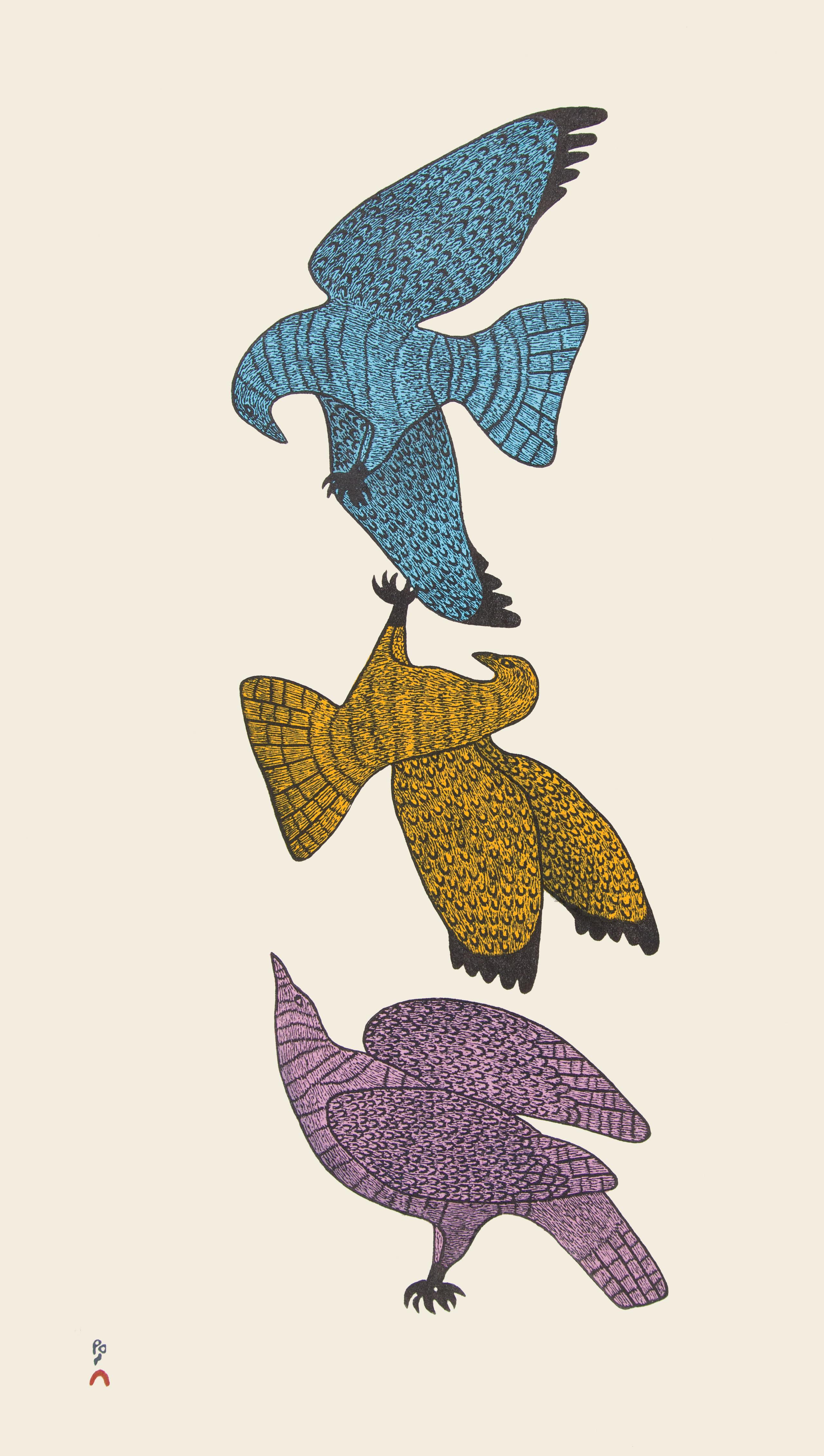QUVIANAQTUK PUDLAT Aerial Courtship Stonecut Printer: Qiatsuk Niviaqsi 62 x 35.3 cm; 24 1/2 x 14 in. $560 US