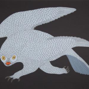 QUVIANAQTUK PUDLAT Stalking Owl Lithograph Printer: Niveaksie Quvianaqtuliaq 56.5 x 76.5 cm; 22 1/4 in. x 30 in. $640 US