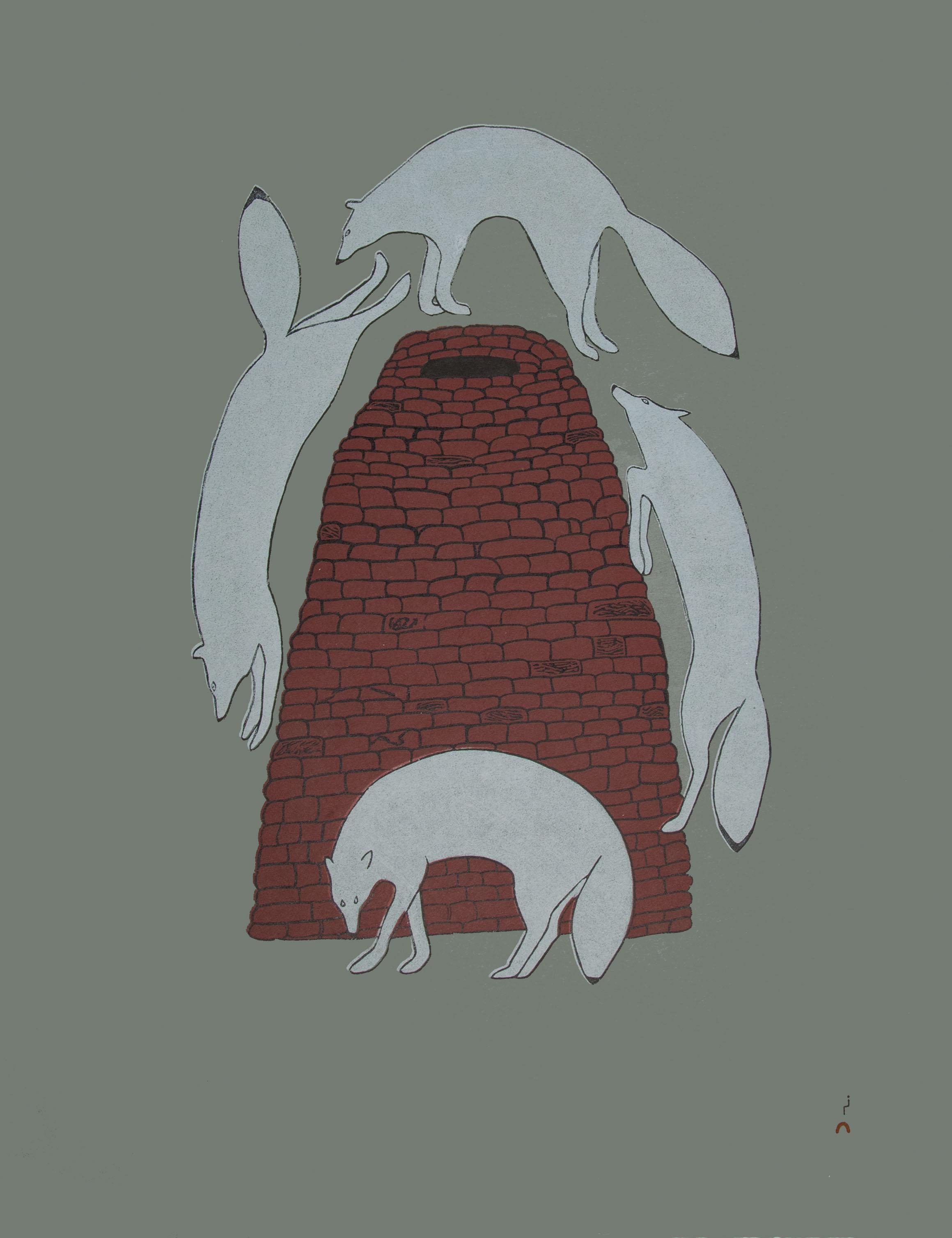 QUVIANAQTUK PUDLAT Sly Foxes Stonecut Printer: Cee Pootoogook 80 x 61 cm; 31 1/2 x 24 in. $640 US