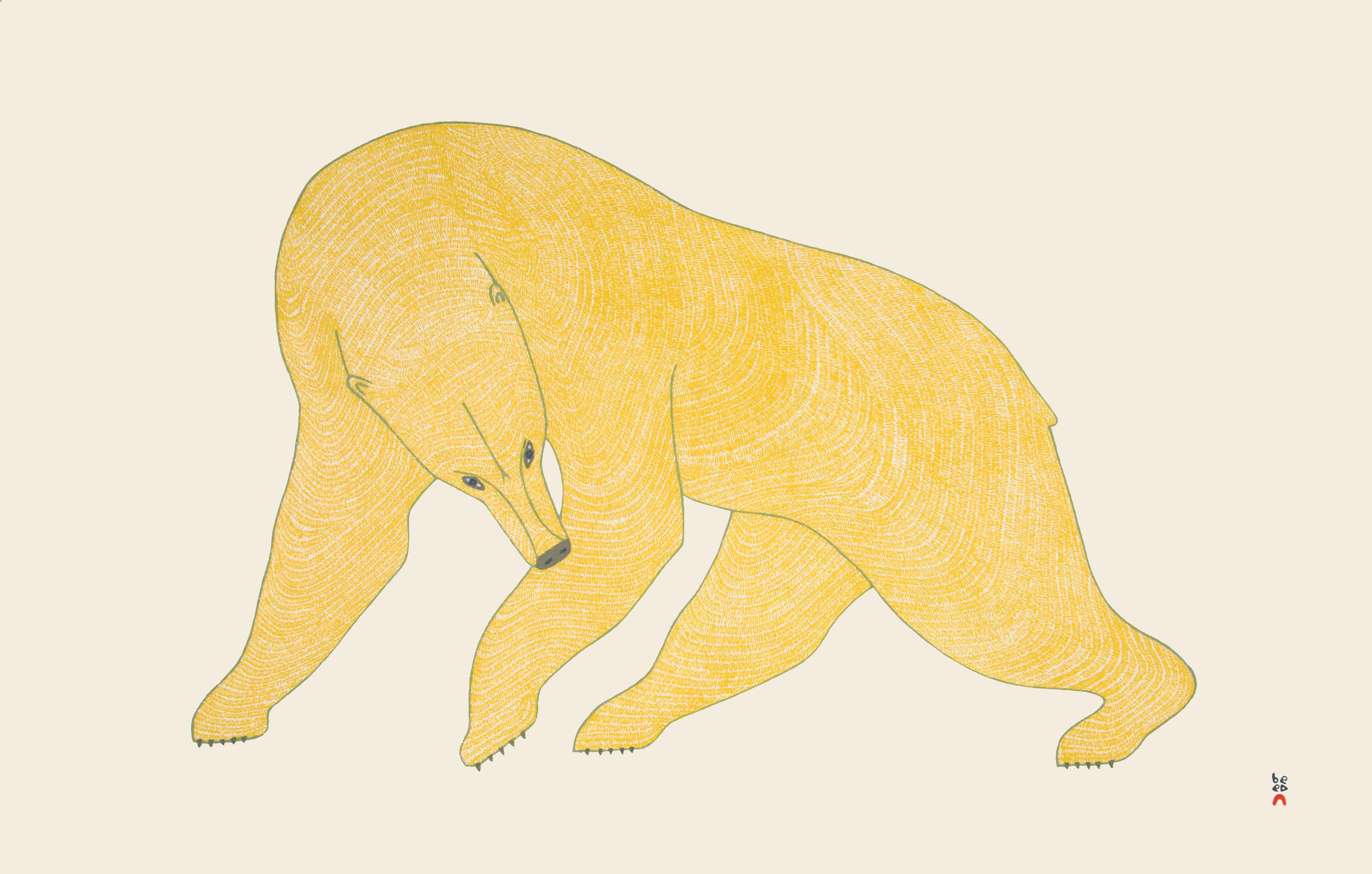 QUVIANAQTUK PUDLAT Mighty Bear Stonecut Printer: Qavavau Manumie 61.5 x 96.4 cm; 24 1/4 x 38 in. $960 US