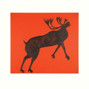 QUVIANAQTUK PUDLAT Rearing Caribou Etching & Chine Collé Printer: Studio PM 66 x 71 cm; 26 x 28 in. $720 US