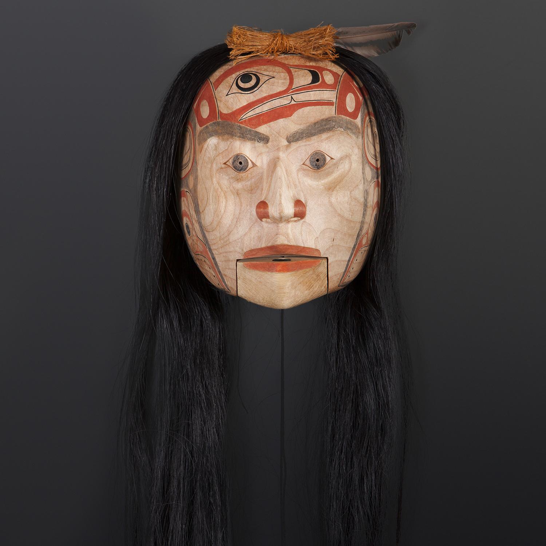 """""""Sgüüxs"""" Speaker Shawn Aster Tsimshian Alder, horse hair, abalone, paint 10"""" x 8"""" x 5"""" 36"""" with hair $3800"""