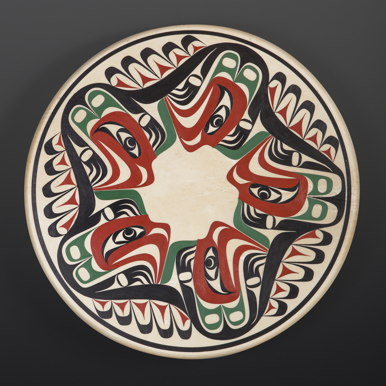 "Five Thunderbirds Drum Nytom Makah Deerhide drum, paint 18"" dia. x 3"" $900"