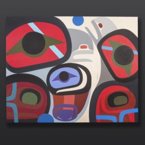 """Family Steve Smith - Dla'kwagila Oweekeno Acrylic on birch panel 30"""" x 24"""" $2500"""