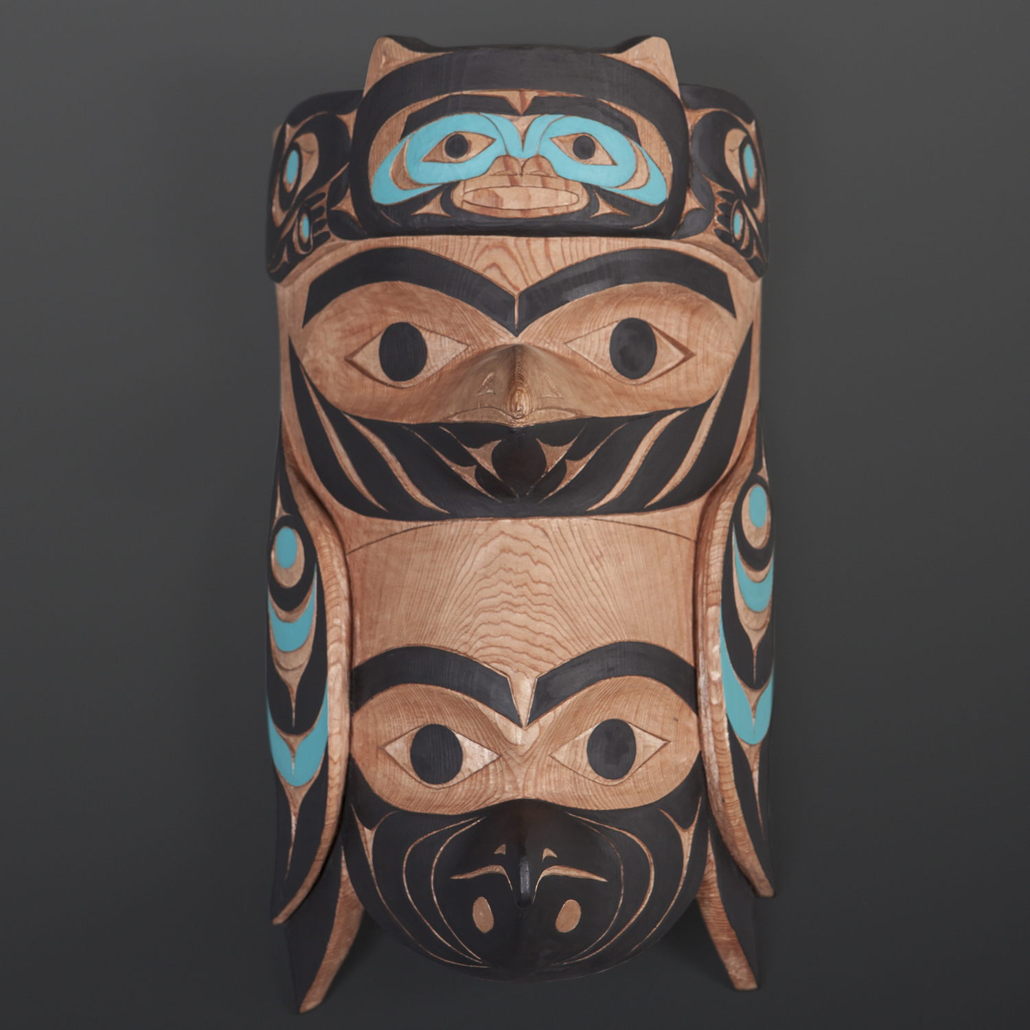 "Raven & Cormorant with Bear Fishing Tim Paul Nuu-Chah-Nulth Red cedar, paint 12"" x 8"" x 9"" $4800"