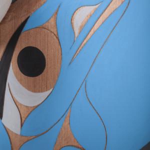 "Raven & Seagull Releasing Daylight Tim Paul Nuu-Chah-Nulth Red cedar, paint 21"" x 18"" x 7"" $5500"