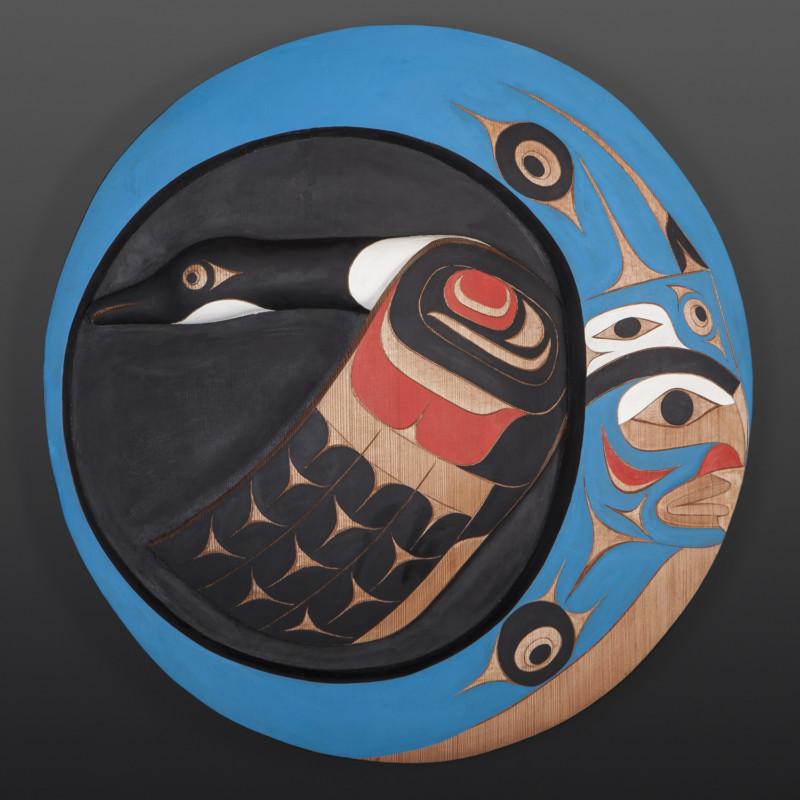 "April Moon Geese Flying Tim Paul Nuu-Chah-Nulth Red cedar, paint 20"" x 20"" x 3"" $5500"