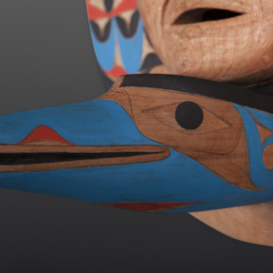 "Blue Raven with Human Witness Tim Paul Nuu-Chah-Nulth Red cedar, paint 19"" x 19"" x 9"" $5500"