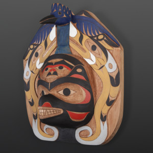"Kingfisher Ridiculing Black Bear Tim Paul Nuu-Chah-Nulth Red cedar, paint 18"" x 16"" x 7"" $5500"