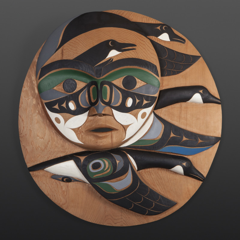 """Geese Flying in a Flock April Moon Tim Paul Nuu-Chah-Nulth Red cedar, paint 22"""" x 21"""" x 5"""" $5600"""