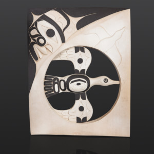 "Goose Panel Tim Paul Nuu-Chah-Nulth Red cedar, paint, custom stand 26"" x 20 1/2"" x 2"" 28"" with stand $6500"