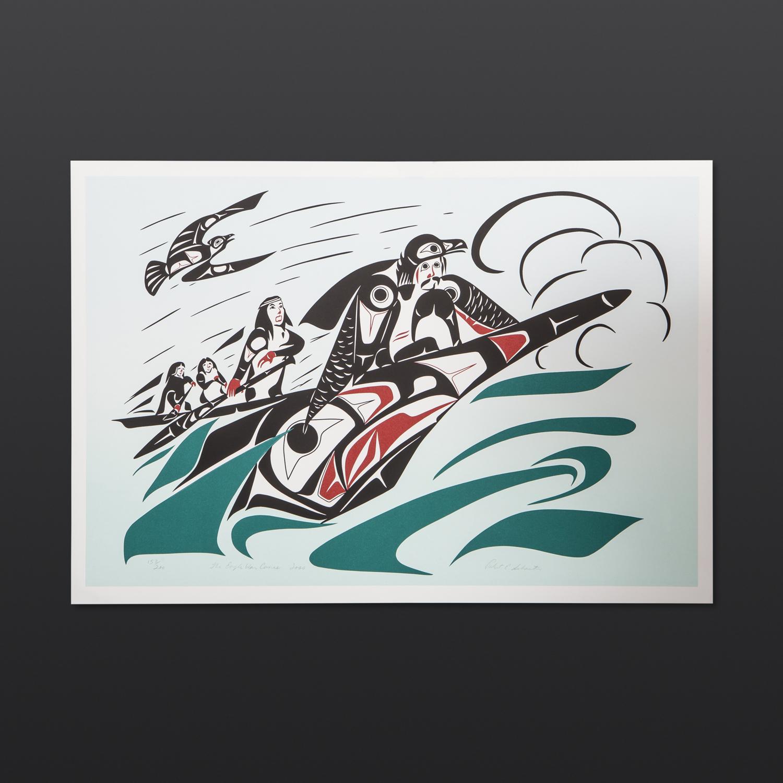 "Eagle War Canoe Robert E. Sebastian Gitksan Limited Edition Serigraph 21.5"" x 15"" $145"