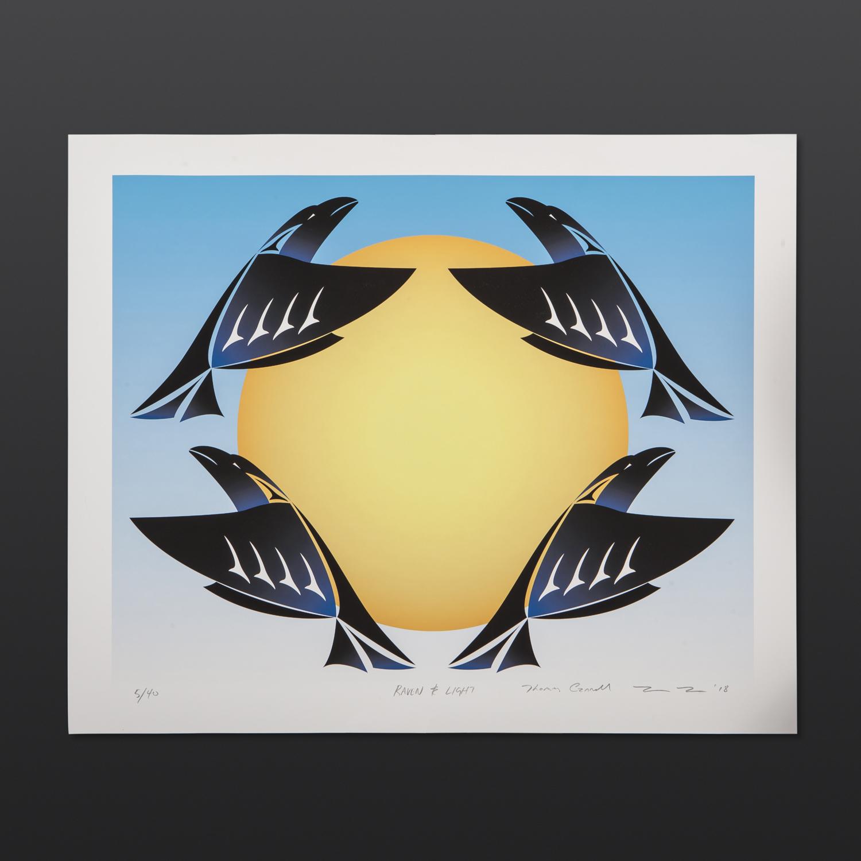 "Raven and Light Thom Cannell Coast Salish Serigraph 16"" x 20"" $280"
