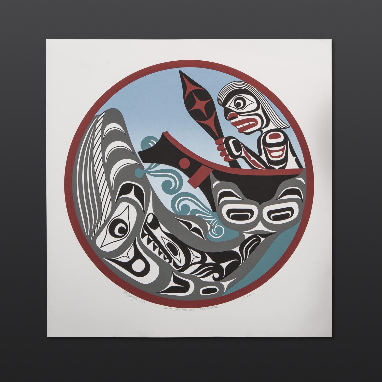 "Seal Hunter and Grey Whale John Livingston Kwakwaka'wakw Serigraph 23"" x 22"" $130"