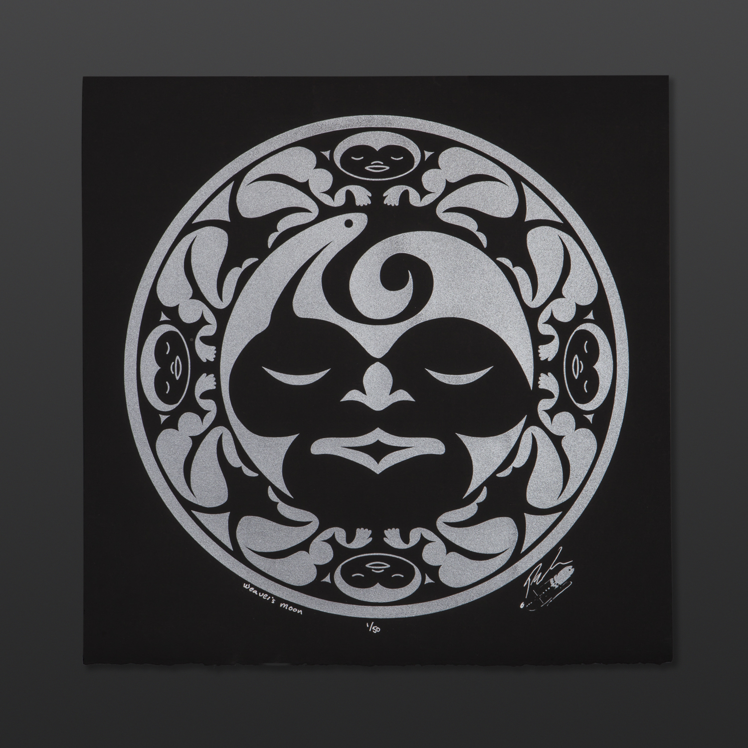 """Weaver's Moon - Silver Peter Boome Coast Salish Limited Edition Serigraph 15"""" x 15"""" $100"""