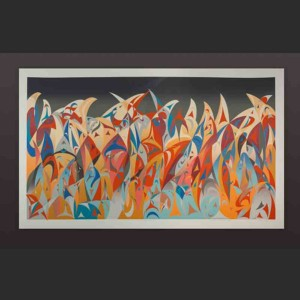 "Twilight Sky Susan Point Coast Salish Serigraph, limited edition of four 26"" x 42"""