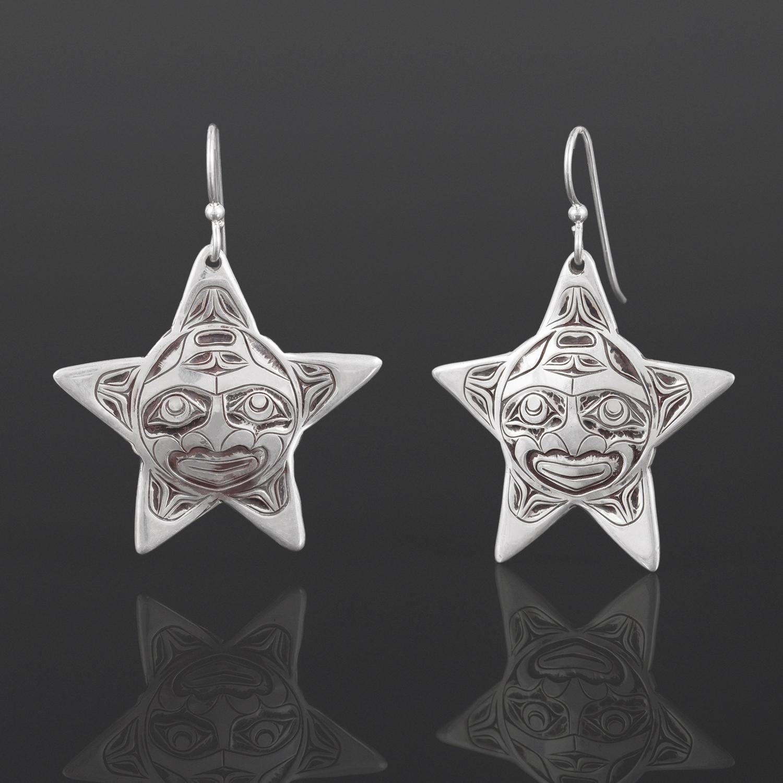 Star Earrings Joe Wilson Kwakwaka'wakw Silver $250