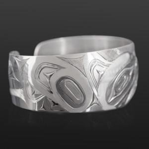"Raven and Frog Bracelet James Sawyer Haida Silver 1"" $575"