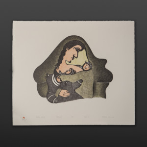 "Mother's Lullaby Pitaloosie Inuit Lithograph 26"" x 22"" $500"