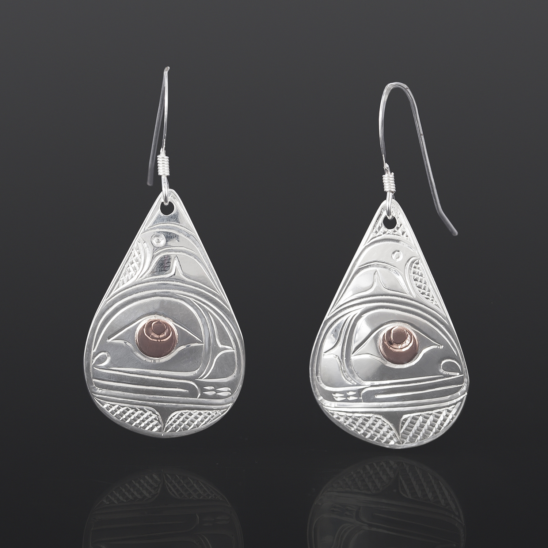 Orca Earrings Lloyd Wadhams Jr Kwakwaka'wakw Silver, rose gold