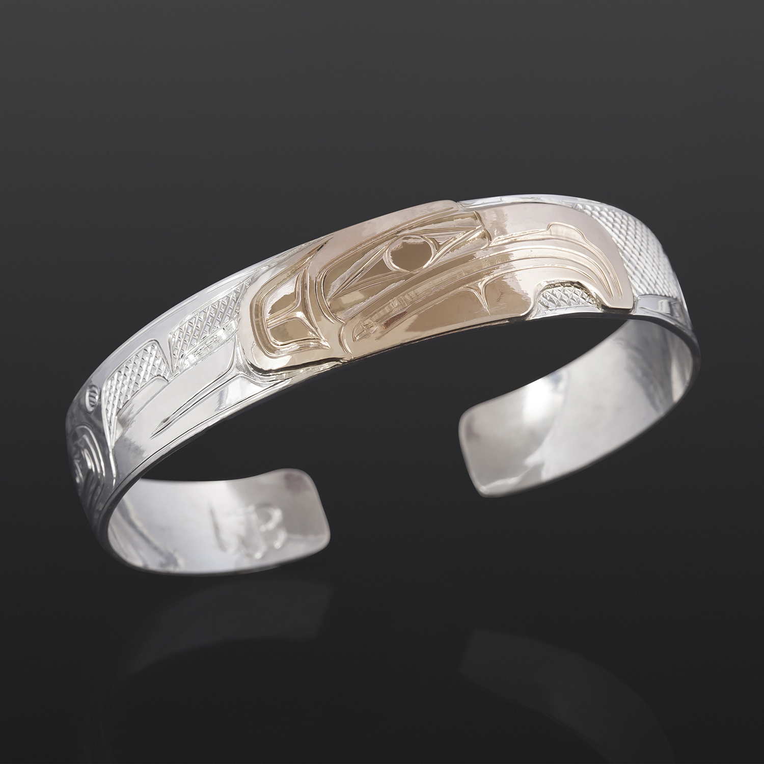 Eagle Clan Bracelet William Bedard Haida Silver, 14k gold
