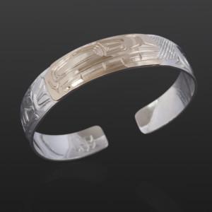 Orca Clan Bracelet William Bedard Haida Silver, 14k goldxv