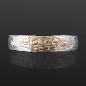 Wolf Clan Bracelet William Bedard Haida Silver, 14k gold