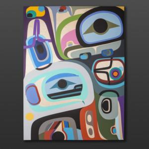 """Free to Be Steve Smith Dla'kwagila Oweekeno Acrylic on birch panel 36"""" x 48"""" $6500"""