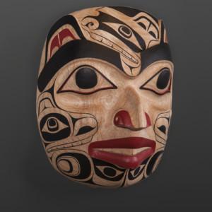 "Bear in Human Form Cori Savard Haida Red cedar, paint 12"" x 9"" x 6½"" $5000"