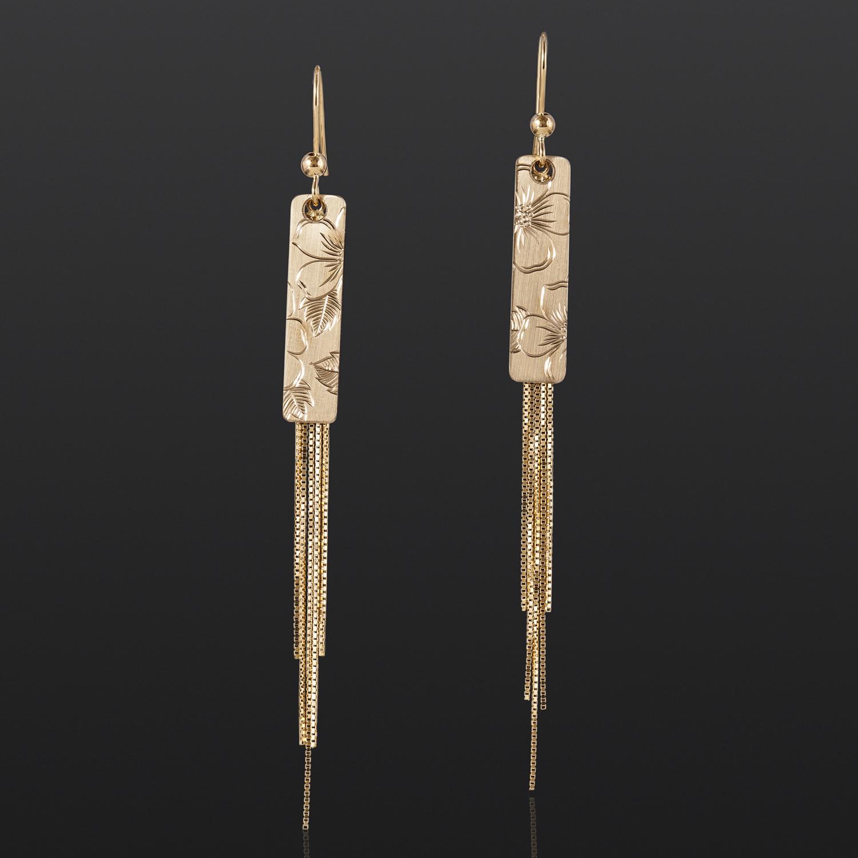 """Wildrose Earrings Jennifer Younger Tlingit 14k gold 2½"""" x ¼"""" $700"""