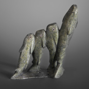 "Arctic Cod Kakee Ningeosiaq Inuit Serpentine #47 7 ½"" x 6 ½"" x 2"" $850"